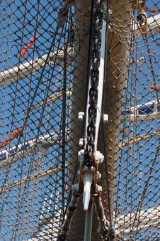 Free Net On The Stern Of Frigate With Three Mast Stock Image - 24663701