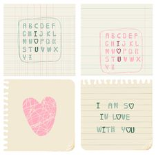 Set Of Hand-written LOVE CARDS Royalty Free Stock Image