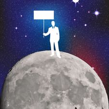 Free Businessman On The Moon Stock Photography - 24663852