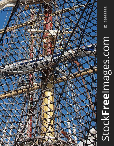 Net on the stern of frigate with three mast
