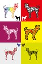 Free Dog Silhouette With Paw Shapes In Various  Colors Stock Photo - 24679980