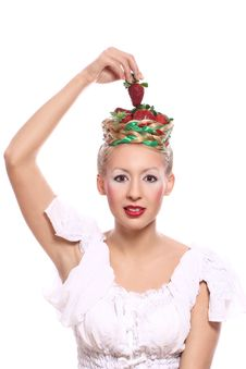 Free Woman With Strawberry In Her Hairstyle Stock Photography - 24670852