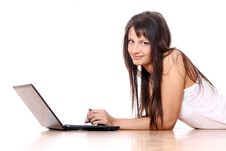 Free Young Girl With Laptop At Home Stock Photo - 24670900