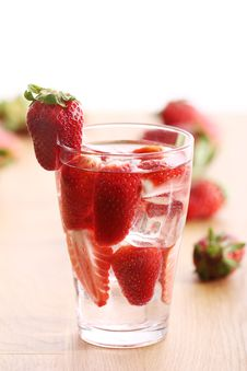 Free Cold Drink With Strawberries Stock Image - 24670921