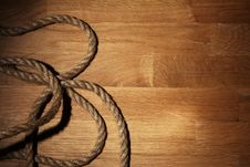 Free Old Rope Over Wooden Surface Stock Photos - 24671003