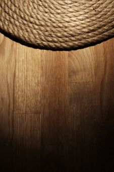 Free Old Rope Over Wooden Surface Stock Images - 24671004