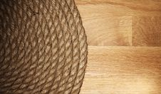 Free Old Rope Over Wooden Surface Royalty Free Stock Photography - 24671007