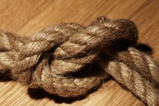 Free Old Rope Over Wooden Surface Royalty Free Stock Photos - 24671018