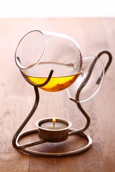 Glass Of Hot Cognac Royalty Free Stock Images