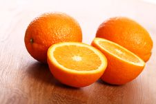 Free Fresh Oranges On Wooden Board Royalty Free Stock Photography - 24671067