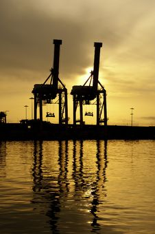 Free Harbour Cranes Stock Photo - 24683520