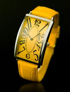 Free Yellow Wristwatch Royalty Free Stock Photos - 24684138