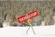 Free Stop - Avalanche Danger On The Slope Royalty Free Stock Photos - 24684488