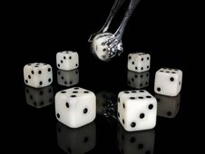 Free Dice And Ancient Silver Nippers. Royalty Free Stock Photography - 24689167
