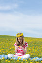 Free Teenage Girl Sitting On A Dandelion Field Stock Photo - 24694550