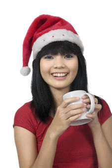 Free Santa Lady Drink A Coffee Royalty Free Stock Photo - 24691905