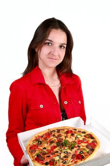 Young Girl With A Pizza Royalty Free Stock Image