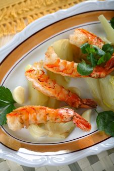 Delicious Grilled Shrimps Stock Images