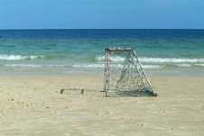 Free Empty Goal On The Beach Royalty Free Stock Photo - 2472455