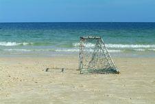Empty Goal On The Beach Royalty Free Stock Photo