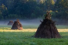 Free Three Haystacks In The Filed E Royalty Free Stock Images - 2472679