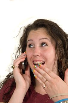 Free Teenage Girl On Phone Royalty Free Stock Images - 2476839
