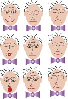 Free 9 Different Faces With Bow Tie Stock Images - 2478014