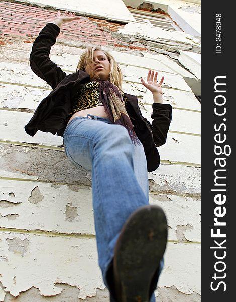 Blonde girl falling