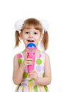Free Little Girl With Toy. Isolated On White Stock Photos - 24701253