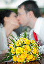 Free Newly-married Couple And Wedding Bouquet In The Fo Royalty Free Stock Photo - 24704525