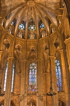 Free Interior Of A Gothic Church In Barcelona Stock Image - 24702361