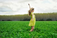 Free Blonde Girl, In A Meadow With Open Arms Stock Images - 24702404