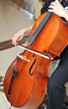 Playing The Cello At Opera Royalty Free Stock Photos