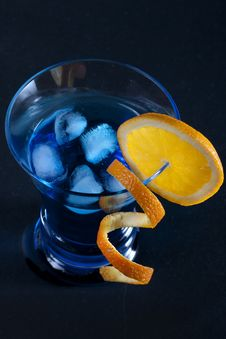 Blue Cocktail On Black Background Stock Photography