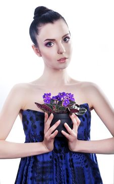 Pretty Sensual Brunette Girl With Blue Flowers Stock Photos