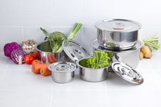 Free Set Of Stainless Pots Stock Photography - 24710752