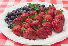 Strawberries And Blueberries On White Plate Royalty Free Stock Photography