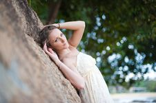 Free A Beautiful Young Girl In White Dress Resting In S Stock Image - 24715231