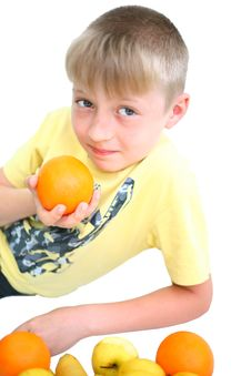 Boy And Vegetables Isolated Royalty Free Stock Image