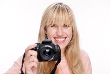 Photographer With Photo Camera On White Royalty Free Stock Photos