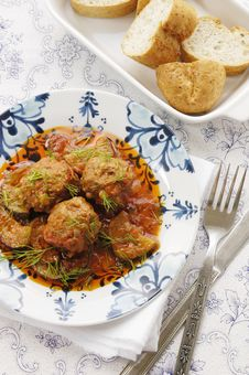 Free Meatballs With Zucchini In Tomato Sauce Royalty Free Stock Photography - 24716827