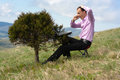 Free Man With Telephone And Computer On Tree Stock Image - 24728771