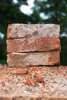 Free Three Used Bricks Royalty Free Stock Photo - 24728995