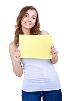 Free Girl Showing Your Text To Us Stock Photography - 24730852