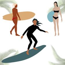 Free Colorful Sihouettes For Surf Figures Royalty Free Stock Images - 24731789