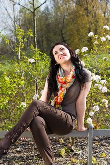 Carefree Young Woman In Park Stock Images