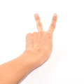 Free Male Hand Showing Two Fingers Up Isolated On White Stock Photography - 24740742