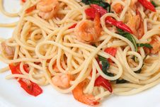 Spaghetti Seafood Stock Photo