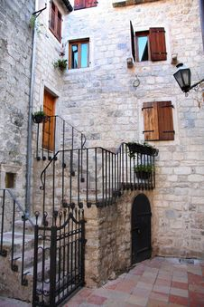 Backstreet In Old Town Of Kotor, Montenegro Royalty Free Stock Photo