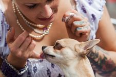 Young Woman With Tattoos With Her Dog Royalty Free Stock Photos